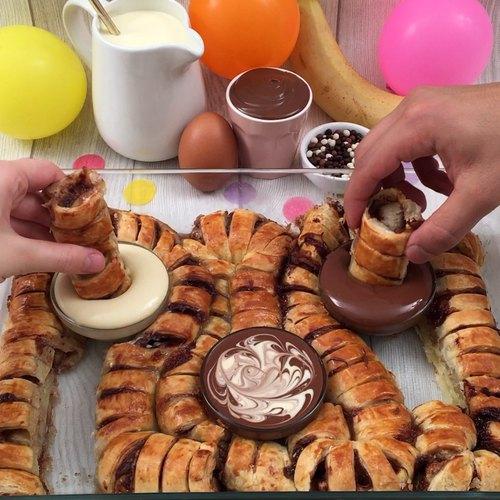 Blätterteig-Guirlande mit Schokolade