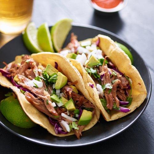 Pork tacos with avocado