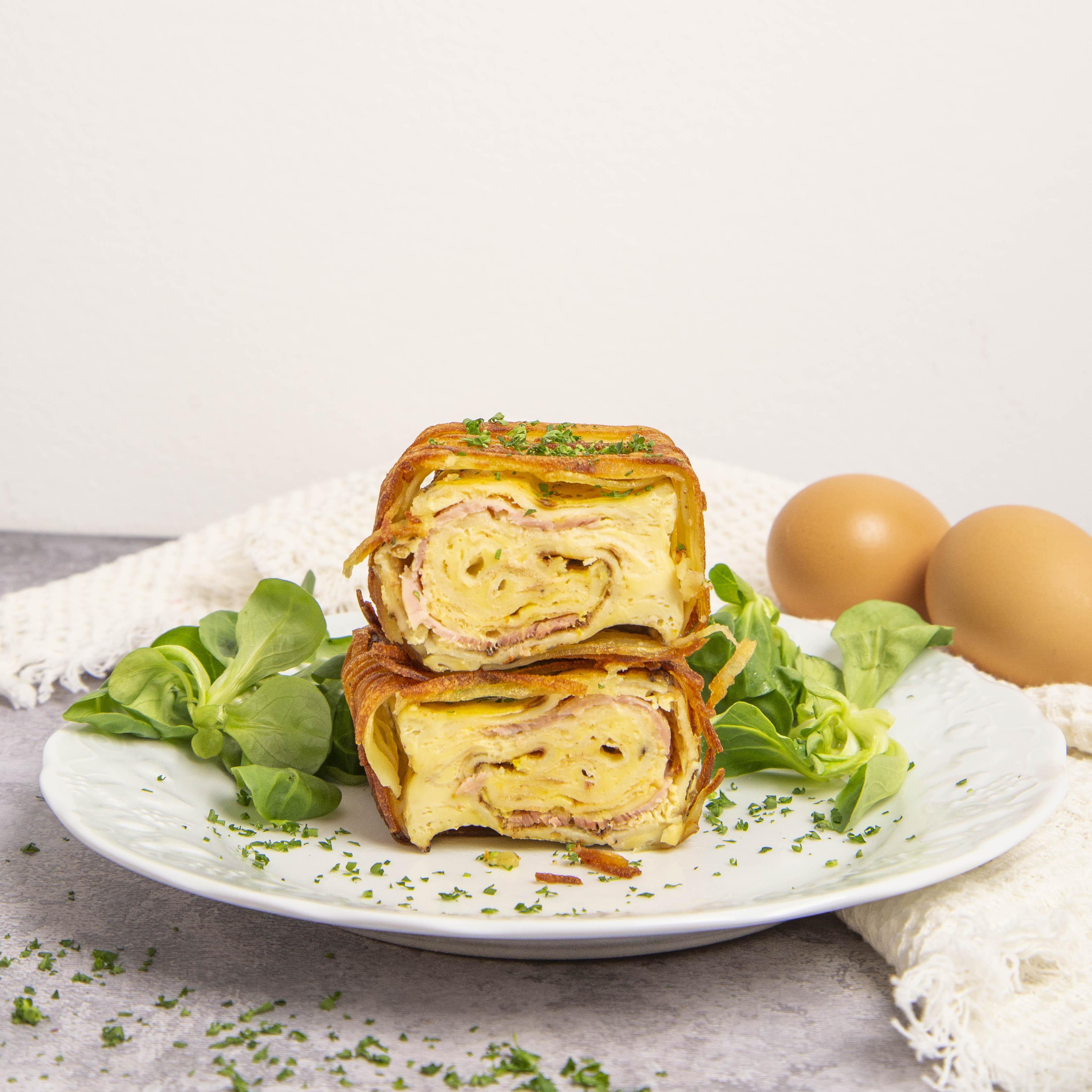 Bloquinhos de crepe-omelete