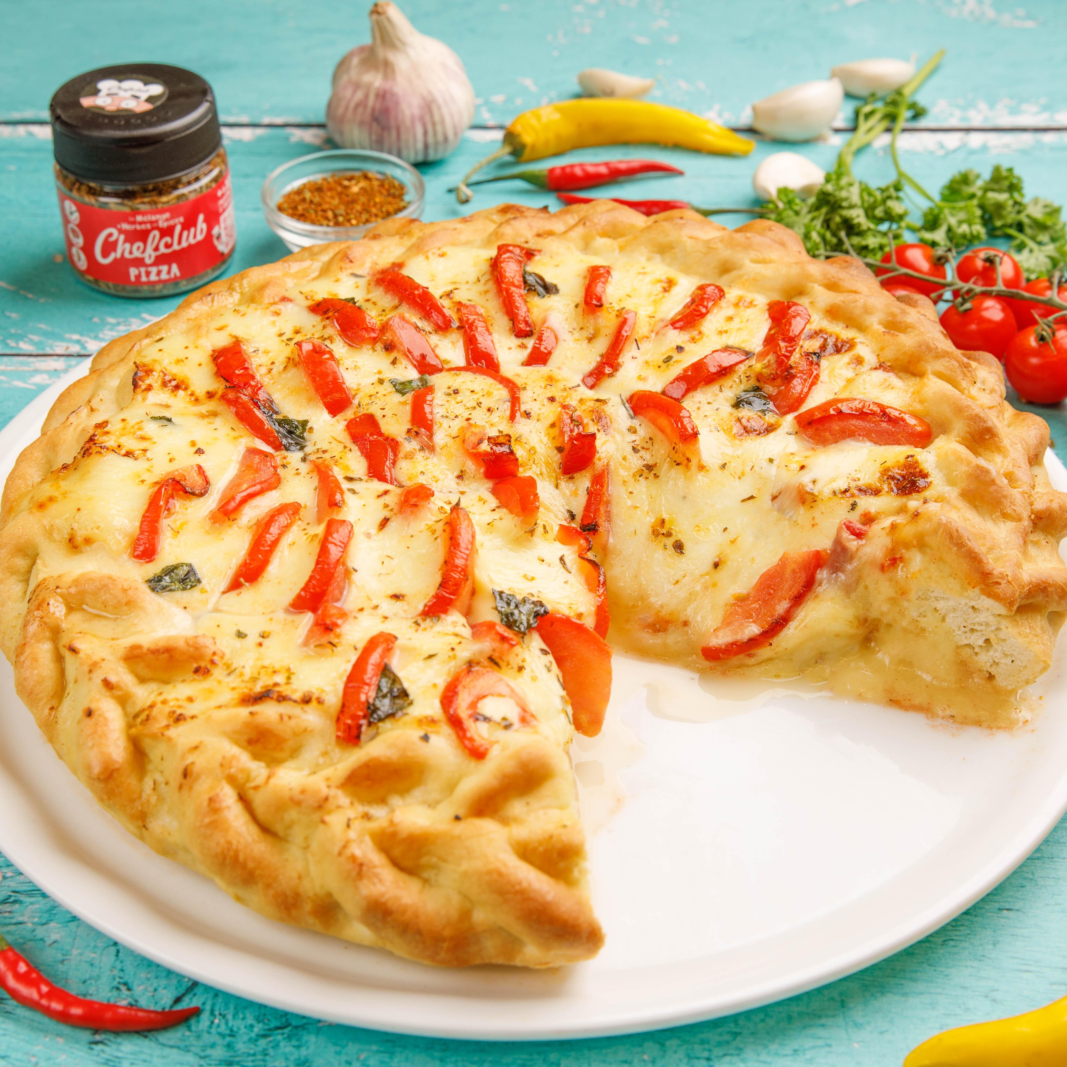 Pizza-vulcão de queijo