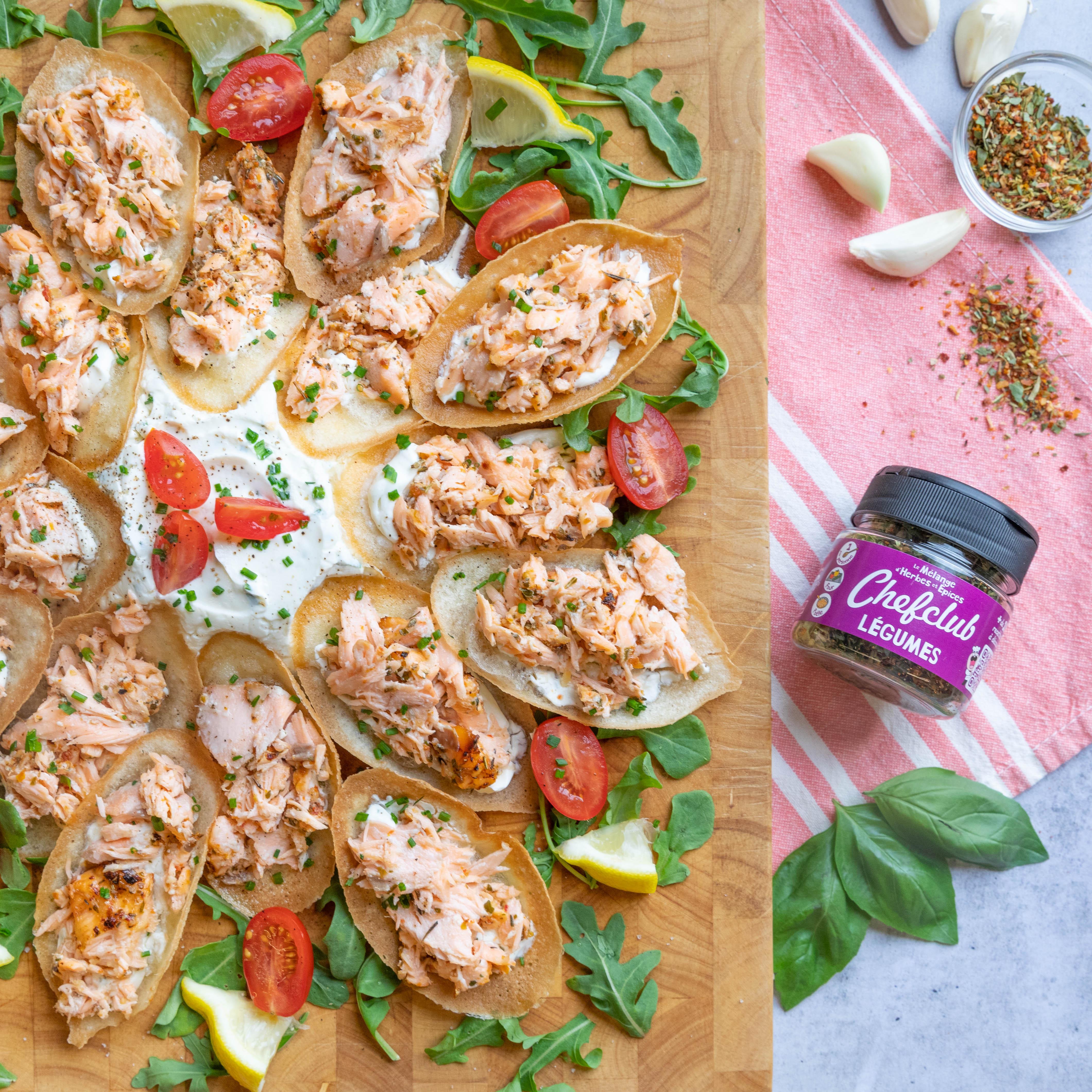Bandejas de aperitivo de salmón!
