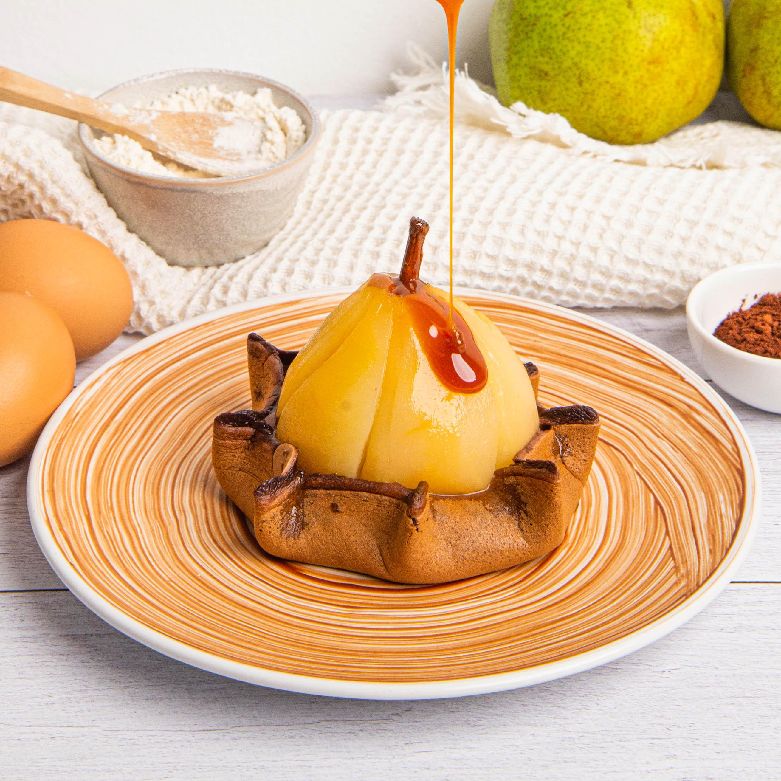 Schoko-Birne auf Pancake