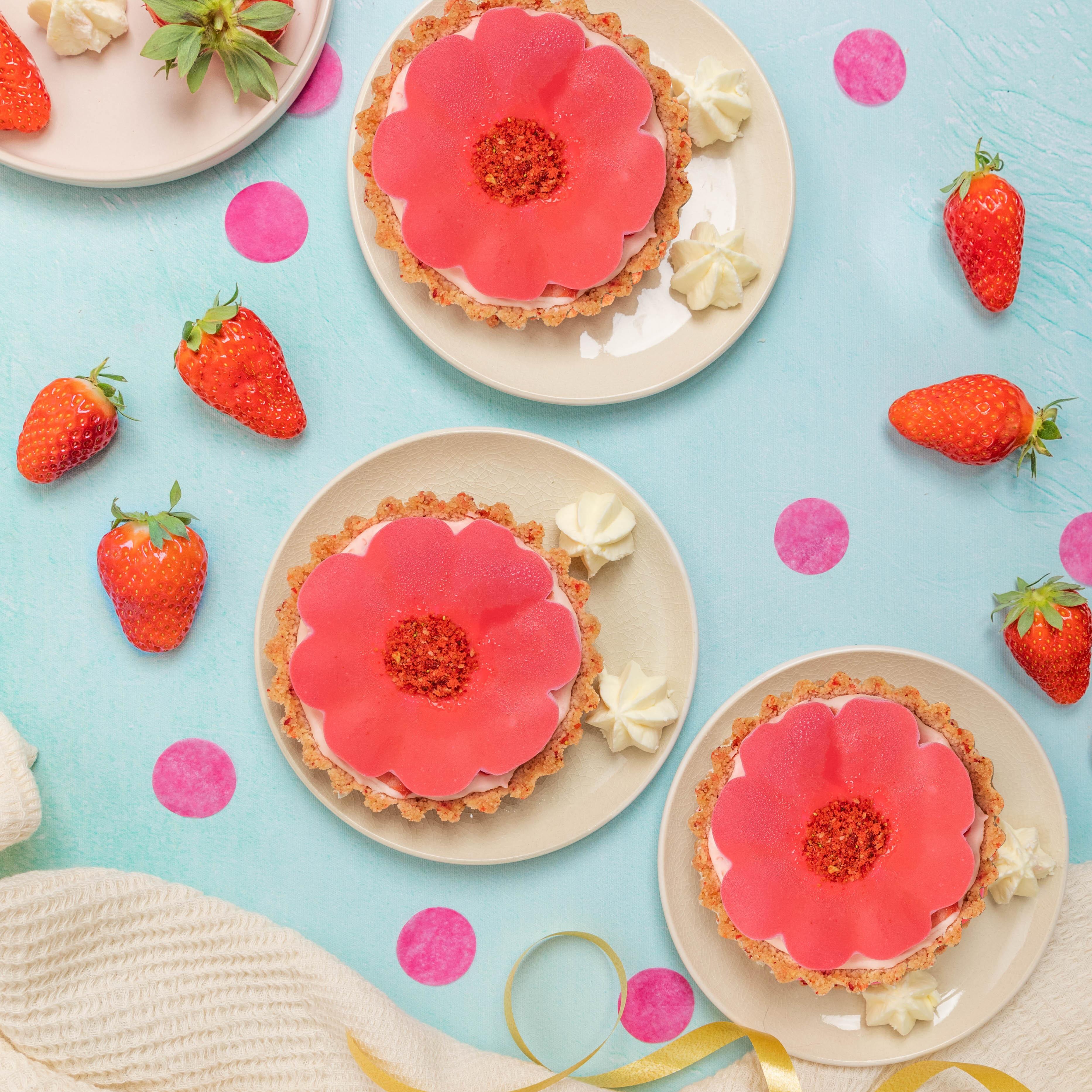 Flores de chocolate e morango