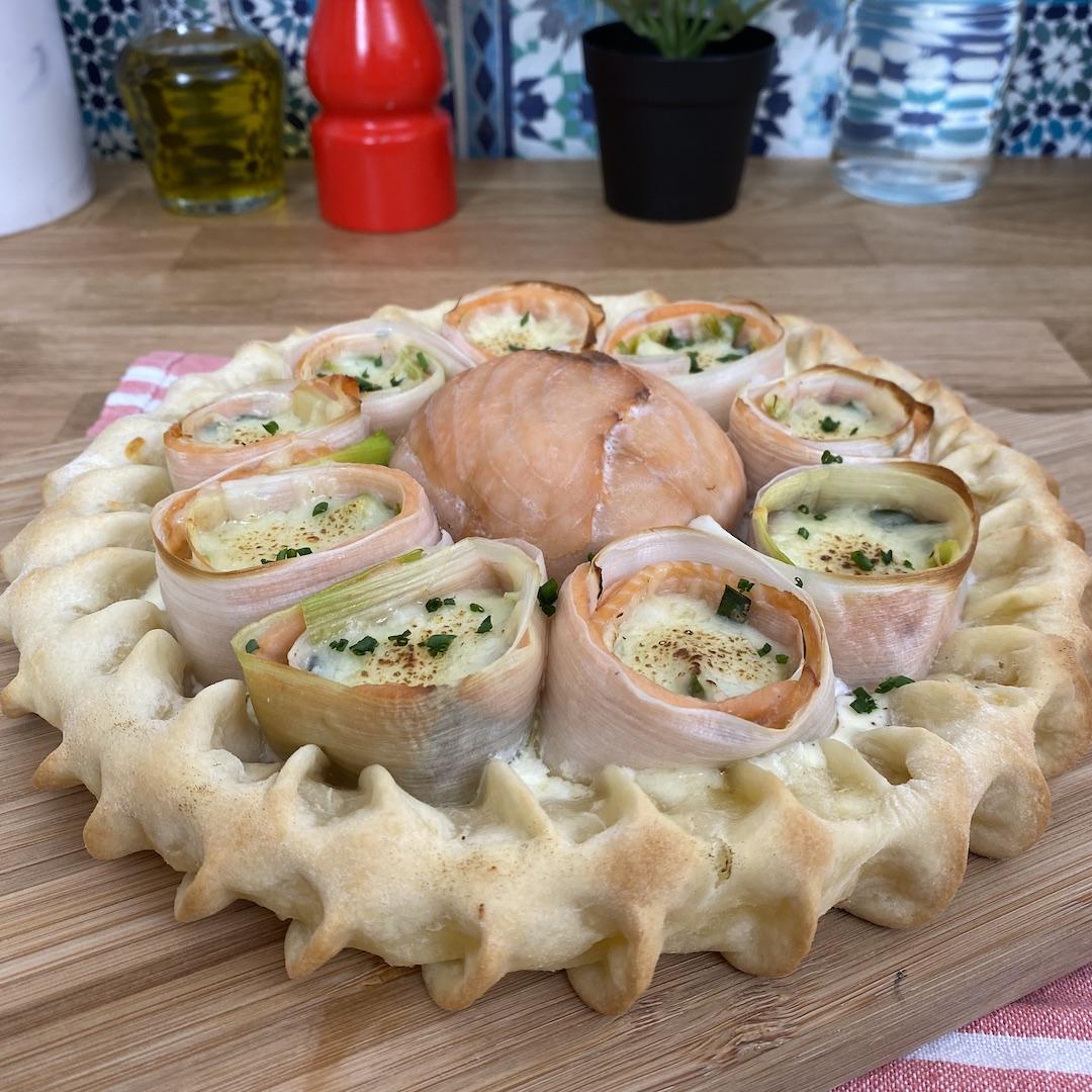 Pizza-torta de salmão & alho poró